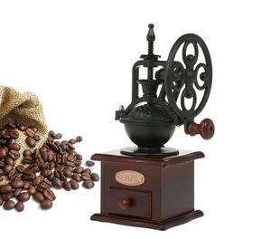 MANUALE Caffè Grinder Antique Coffee Mill Ghisa Ghisa mano manovella con impostazioni di macinazione Cassetto Cassetto 11,5 x 11,5 x 26 cm