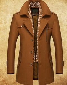 Manteau en laine avec presse permanente et foulard en coton Manteau en laine pour homme