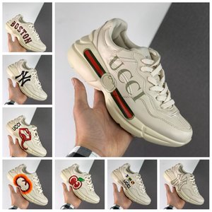 New Gucci Rhyton Sneaker Vintage Baskets basses Chaussures Hommes Chaussures Papa luxe rhytons Ace Sneaker Chaussures de sport Tripler Femmes Baskets Baskets Taille 11