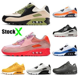 Nike Air Max 90 OFF White Tennis 최고 2020 90 90 초 남성 트레이너 실행 신발 핑크 여성 Lahar 탈출 오렌지 블루 클래식 트리플 블랙 패션 테니스 걷는 Chaussures 36-46