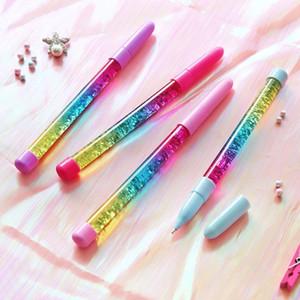 Novelty 0.5mm Creative Rainbow Color Ball Pen Fairy Stick Ballpoint Pen Drift Sand Glitter Crystal Papeterie For Girl Gift