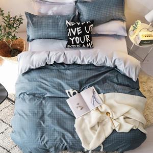 Patrón de dibujos animados Beding Set 4 piezas de algodón suave cama sábana bajera Set almohada colcha