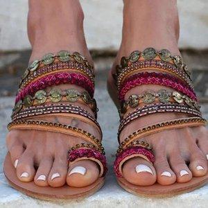 chaussures casual orteil plat style bohème ethnique Chaussures Femme ouvert à plat Sandales Toe Tongs Plage Slipper Casual Tongs Bohême