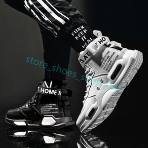 Xshfbcl 2020 Men's High Top Fashion Leather Sneakers Trend Hot Sale Comfortable Man Casual Shoes Outdoor Non-slip Breathable Men Shoes