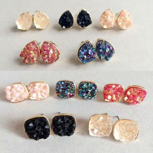 Hot Women Girls Jewelry Glitter Druzy Drusy gotas de agua forma cuadrada pendiente chapado en oro forma de roca oreja Stud