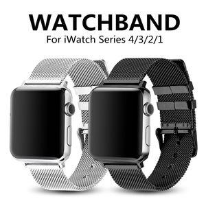 Apple Watch 4/3/2/1 용 패션 스포츠 스트랩 Iwatch Band 44 / 40 / 42 / 38mm 용 스테인레스 스틸 미세 라인 Milanese 루프 시계 밴드