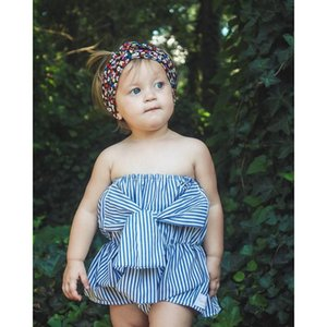 INS Baby Girls полосатый принцесса ползунки летом большая бабочка с плеча младенческой девочки комбинезон в европейском стиле малышей onesie Y1278