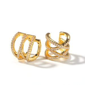Gold Silver Color Plated Iced Out Geometric ear clip CZ Stone Stud Earring Hip Hop Rock Jewelry Earrings For Male Female Gifts