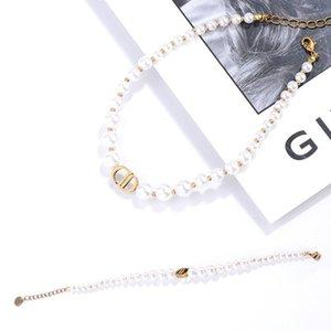 Luxury Pearl Alphabet Bracelet Cd Letters Designer Necklaces Brand Choker Chain Necklace Women Luxury Jewelry Sets