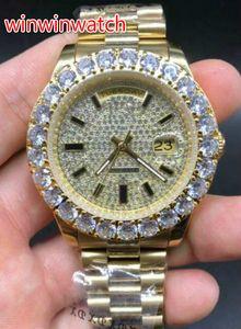 Высокое качество зубец набор бриллиантов наручные часы 43 мм золото из нержавеющей стали автоматические механические мужские часы бесплатная доставка
