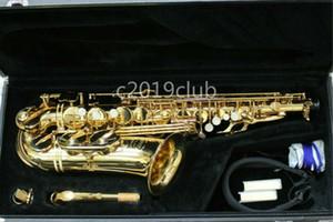 Latón Júpiter JAS-669 del saxofón del alto de alta calidad de oro del cuerpo de la laca de superficie Eb Tune Mi bemol saxofón con el caso Boquilla envío