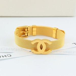 Marca in acciaio inox cinturino cinghia braccialetto classico europeo e seta moda americana cintura maglia fibbia in titanio paio braccialetto in acciaio