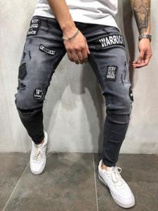Jeans Lavé Ripped Applique Homme Streetwears solides Distrressed Mode Garçon Pantalons Crayon avec poches pour hommes printemps trou