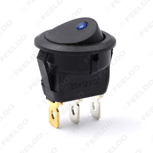 5pcs lot Car Boat Auto Motorcycel LED Dot Light 12V Round Rocker ON OFF SPST Switch with Blue Light #2613