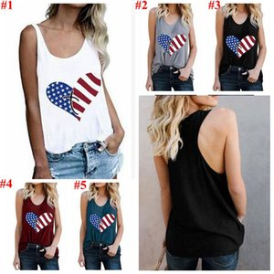 Women Clothes America Flag Tanks Striped Star Tops Summer Sleeveless Tees USA Flag Camis Casual Printed Blouses Costume Vestidos CYL-5605