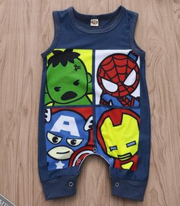 Новорожденный младенец мальчик девочка ромперс мультфильм супергероя милый комбинезон без рукавов лето хлопок одежда наряд 0-24 м