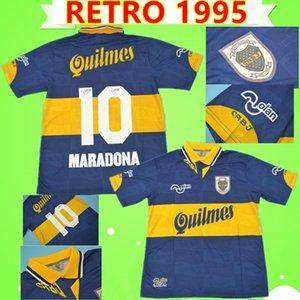 10 MARADONA 1995 BOCA JUNIORS rétro en maillots de football commémorent 95 chemises de football vintage maison jaune bleu classique antique camiseta de futbo