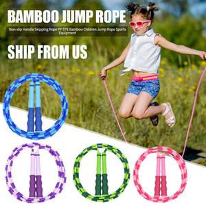 US Stock Bamboo antiscivolo maniglia corda da salto in PP con TPE bambini Student Jump Rope Sport Fitness Training esercitazione di allenamento Attrezzatura Attrezzi FY62