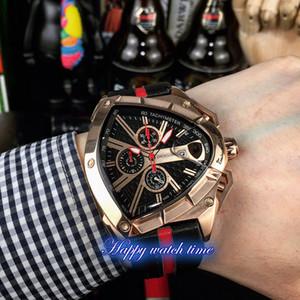 Version haute Racing Mode série cadran noir en or rose en acier spécial cas Japon VK Quartz Chronographe Mens Black Watch bracelet en cuir