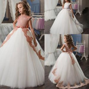Lange Blumen-Mädchen-Mädchen-Spitze bestickt Kinder Abend-formale Partei Kleid Prinzessin Bogen Brautkleid nachlauf
