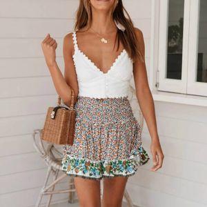 Boho été femme mini jupes courtes Mode casual plage floral taille haute Volants élastique A-ligne Jupes femmes filles Vêtements