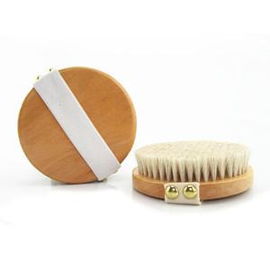Crin naturel Gommage Bain Brosse sans poignée peau sèche Bain Douche Brosses SPA massage douche en bois Brosses ZC0283