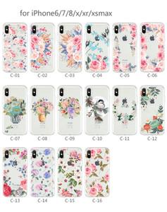 100 pçs / lote iPhoneXsMax floral pintado caixa do telefone móvel para a Apple Samsung S10 transparente bonito tpu anti-queda capa mole