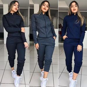 20ss Frauen Designer Trainingsanzüge Gelegenheits Stehkragen Langarm Zweiteiler Hose Solid Color Frauen Anzüge