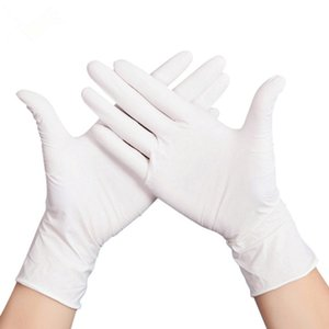 White Color Disposable Nitrile Gloves S M L Size Protective Gloves Cleaning Gloves DHL Free Shipping