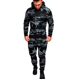 hoodies Mens Fashion Spring Hiphop Tracksuits Camouflage Designer Cardigan Hoodies Pants 2pcs Clothing Sets Pantalones Outfits free shipping