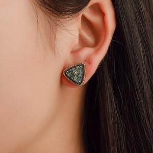 مثلث druzy الحجر وأقراط للسيدات جولة الراتنج أقراط الذهب المرأة الأزياء والمجوهرات