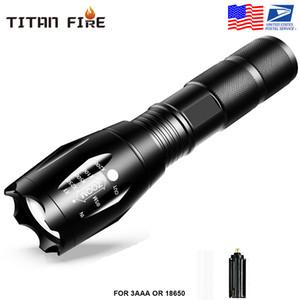 Stock US, G700 E17 CREE XML T6 2000Lumens haute puissance LED Torches zoomables lampe tactique torche LED Lampes de poche pour 1x18650 batterie