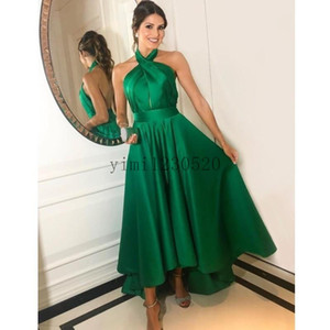Emerald Green Prom Dresses 2020 Halter Backless High Low A Line Pleats Long Formal Evening Party Gowns for Sweet 16 Plus Size Cheap