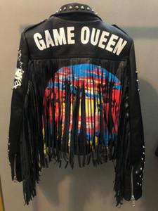 Otoño postes de graffiti primavera rebordear las mujeres de la PU chaqueta de cuero de estilo punky del cuero de la borla de Motorcyle capas de las chaquetas de Calle F802