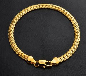 18 K de Ouro 925 Banhado A Prata Charme Cadeia Pulseira para Mulheres Dos Homens 5mm Presente de Aniversário Fresco Moda Miami Hip Hop Ligação Pulseiras Jóias