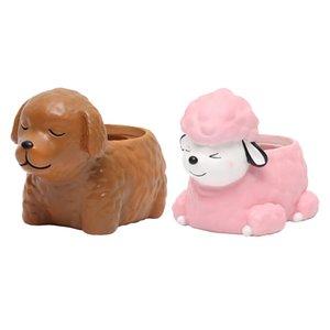 2pcs Résine Flowerpot usine Container Succulent Herb Boîte adorable chien Accueil bricolage décoration