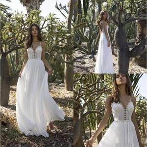 Asaf Dadush 2019 Vestidos de novia para jardín Una línea de abalorios de gasa sin espalda Vestidos de novia de encaje Boho Tul Vestido de novia vestido de noiva Tallas grandes