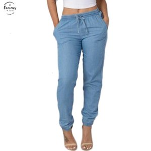 Jeans Womens Elastic Waist Casual Pants High Waist Jeans Knee Length Casual Blue Pants Jeans Women Trousers Clothes