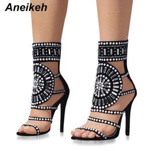 Aneikeh Moda para mujer Punta Abierta Rhinestone Diseño Sandalias de tacón alto Cristalino Tobillo Glitter Glitter Gladiador Negro Tamaño 35-40 Y190704