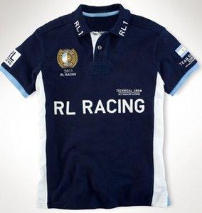Neue Männer RL Racing Polo Shirts Baumwolle Big Pony Stickerei Mode Spanien / VAE / DEUTSCHLAND / Brasilien / Großbritannien / Frankreich / Argentinien / Italia Tees Rot