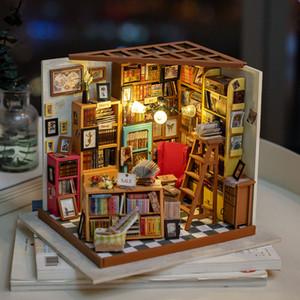 Miniatura Rolife Decoración Figurita bricolaje Sam Sala de Estudio Modelo de madera del regalo de cumpleaños Decoración Kits de muñecas para chicas DG102