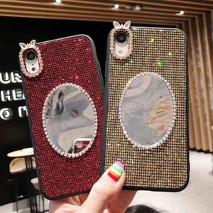 2019 Women Cute Case Diamond Designer Phone Case for IPhone XR XS MAX X 8 7 6 with Makeup Mirror Rabbit Fashion TPU Back Cover 4 Styles