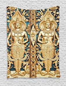 Tapeçaria rústica Portão tailandês em Wat Sirisa Tong Tailândia Budismo Arquitetura História Espiritual Picture Dormitório Tapeçaria
