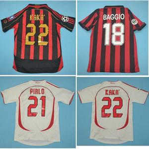 Top 06 07 AC Milan Retro Jersey 91 92 BAGGIO Soccer Jersey 96 97 MALDINI Ronaldo Maillot de foot 1988 2007 PIRLO de pied maillot manches courtes