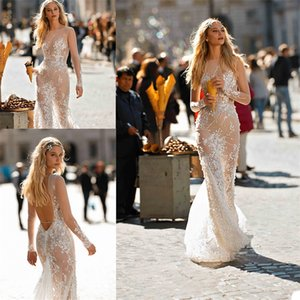 2020 Royal A Line Wedding Dresses Appliqued Lace Beaded Sequins Wedding Gown Sexy Jewel Neck Sheer Long Sleeve Backless Vestidos De Novia