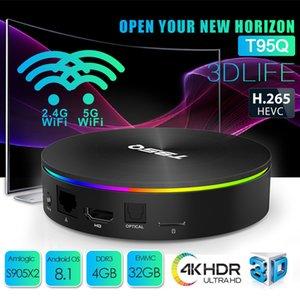 T95Q TV Box Android 8.1 S905X2 Quad Core Suporte Android TV Box 4GB 32GB Smart TV 2.4G 5.0G Wifi