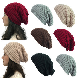 Fashion Elastic Knitted Beanie Hat Soft Woman Warm Travel Crochet Cap Casual Men Winter Outdoor Ski Hat LJJT1612