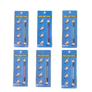Gradient Glitter-Puder-Nagel-Bürste-Schwamm-Doppel-Kopf Punktierung Pen für Bunte UV Gel Malpinsel-Maniküre-Werkzeug