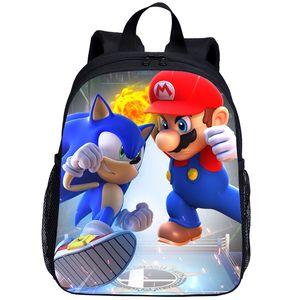 Bolsas de New Super Mario escuela de moda Mochilas para Niños Niñas Niños Sonic The Hedgehog impresión Niños Mochila Mochila Infantil