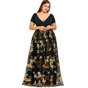 Wipalo Floral Sparkly Long Maxi Dress 2019 Design Plus Size V-Neck Robe Abiti da sera da sera Donna Elegante Lungo Vestidos 5XL